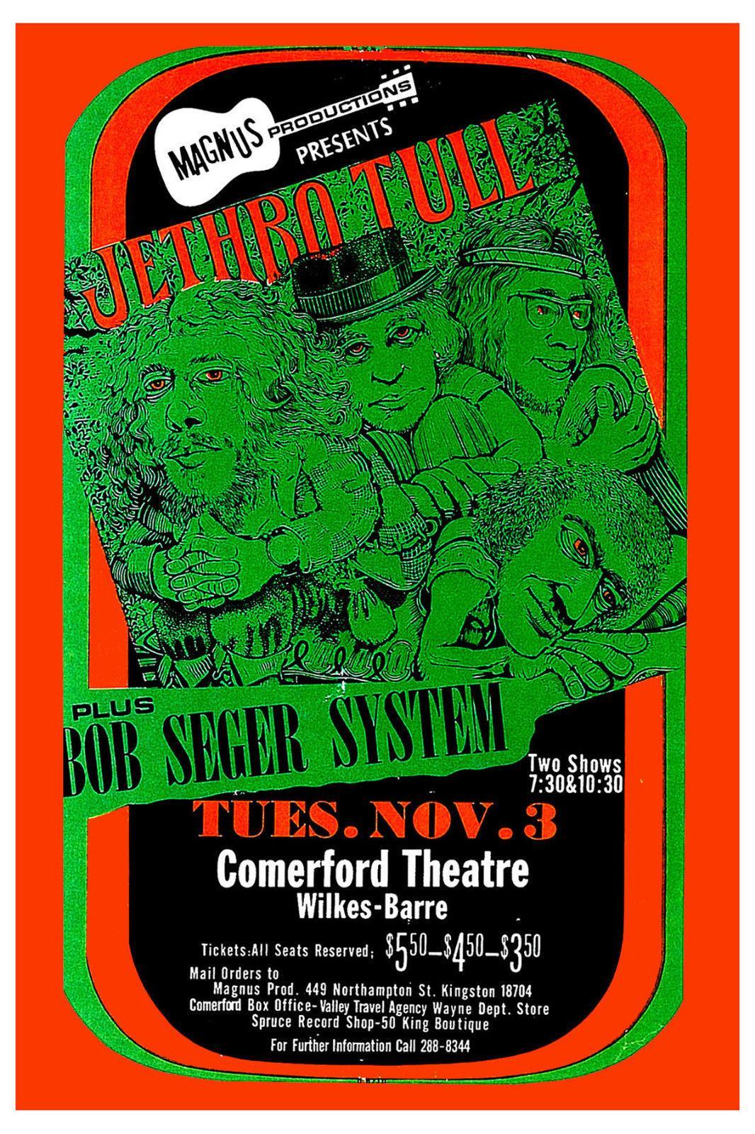 Рок: Jethro Tull Боб Сегер системы в Comerford Theatre концерт Искусство шелк печати плакат 24x36inch (60x90cm) 015