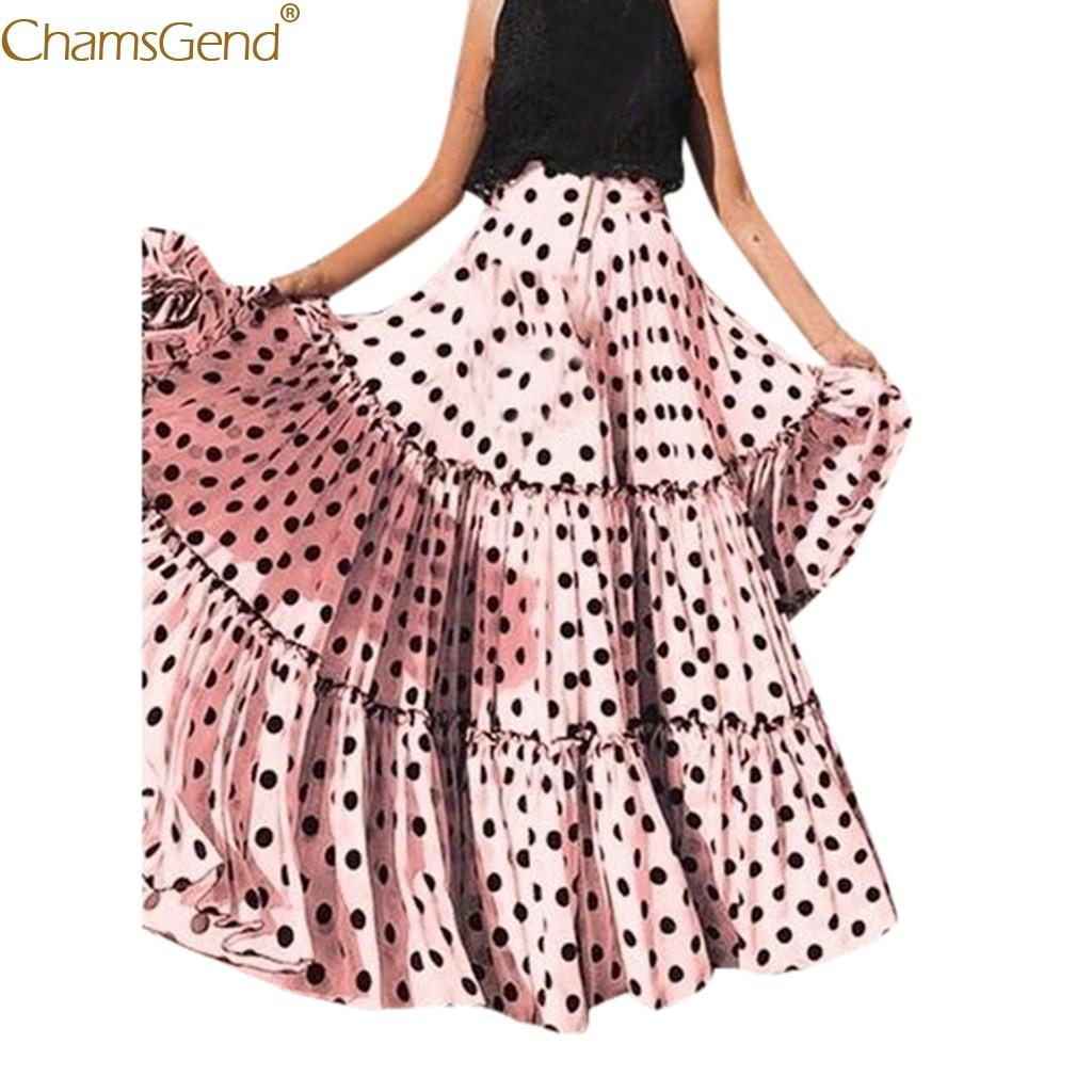 Impressos saias longas mulheres maxi saia saias das mulheres Plus size alta cintura polka dot impresso babados mulheres plissadas maio