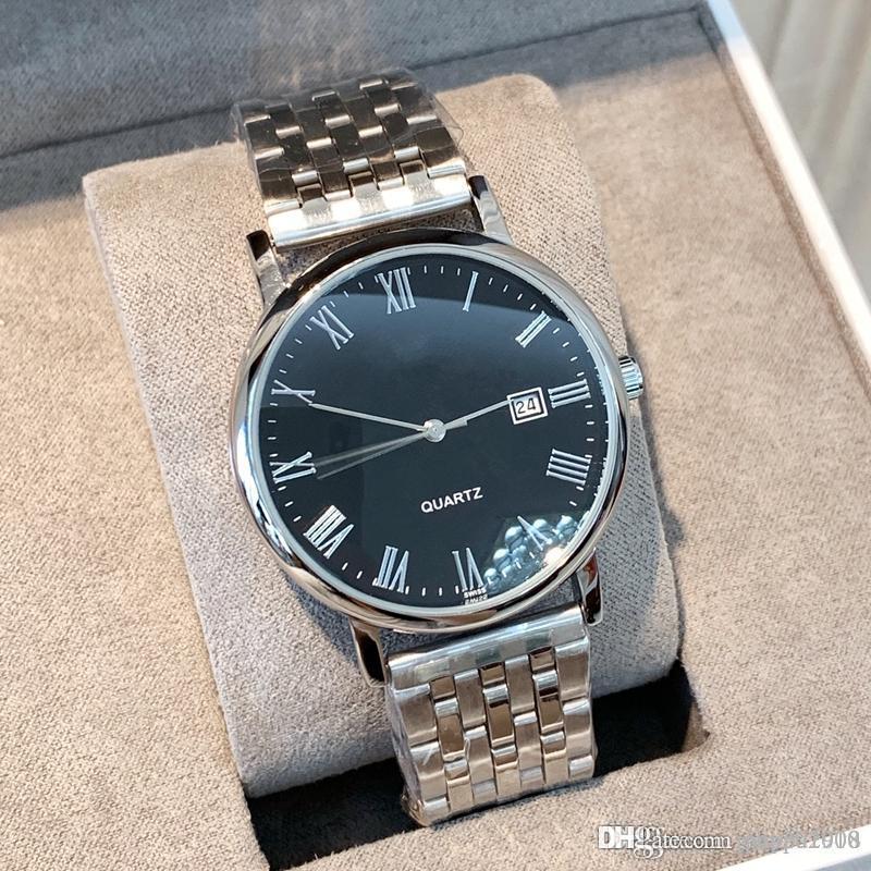 Moda relógio de alta qualidade simples homem relógios clássicos com marca de data do calendário de aço de luxo agradáveis masculinos relógios Vestido populares Relógios Roma