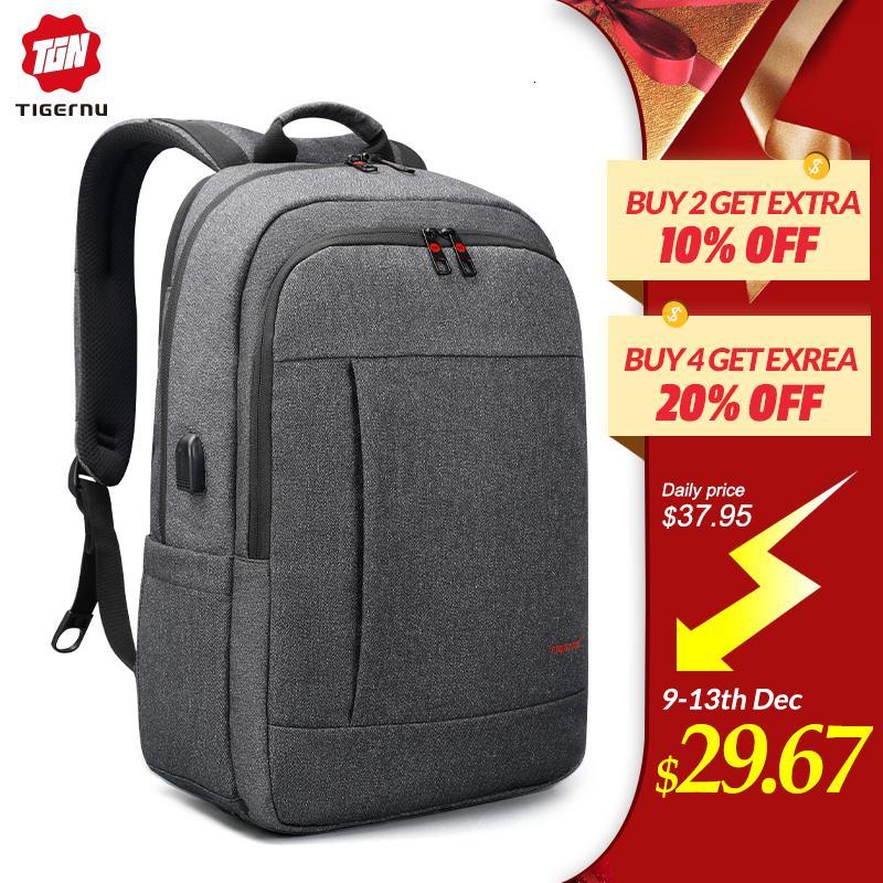 Tigernu مكافحة سرقة USB bagpack 15.6 إلى 17inch حقيبة كمبيوتر محمول للمدرسة النساء الرجال حقيبة أنثى ذكر سفر Mochila CJ191212
