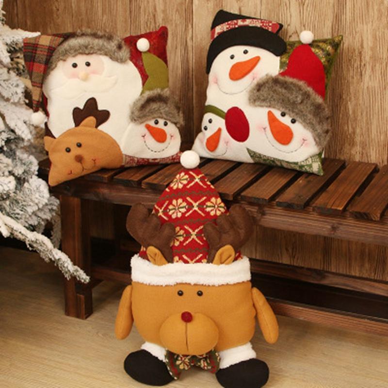 Noël bonhomme de neige Coussin Oreiller Décoration de Noël Nouvel An Fournitures Accueil Chambre Couple Enfant de Noël Décoration Cadeau