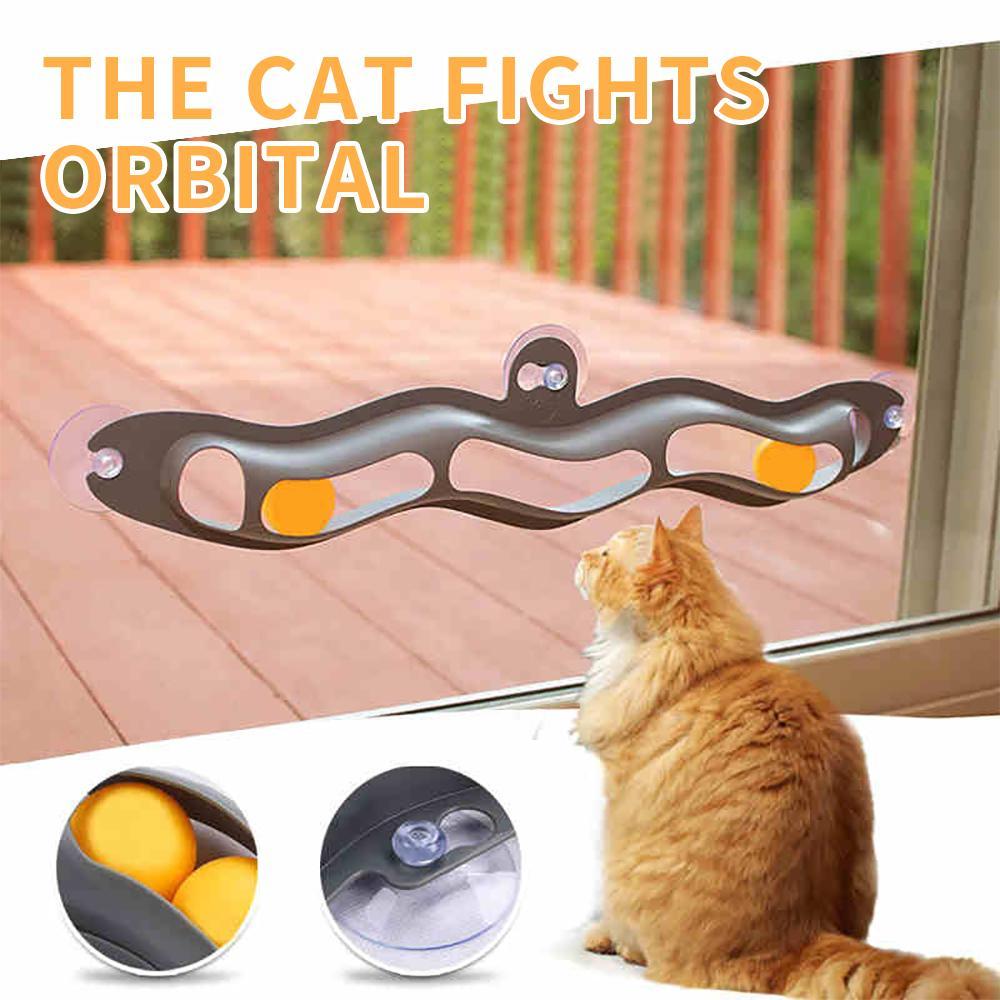 애완 동물 고양이 장난감 대화 형 트랙 볼 장난감 고양이 실용 창 흡입 컵 트랙 볼 애완 동물 액세서리 테니스 빠는 장난감