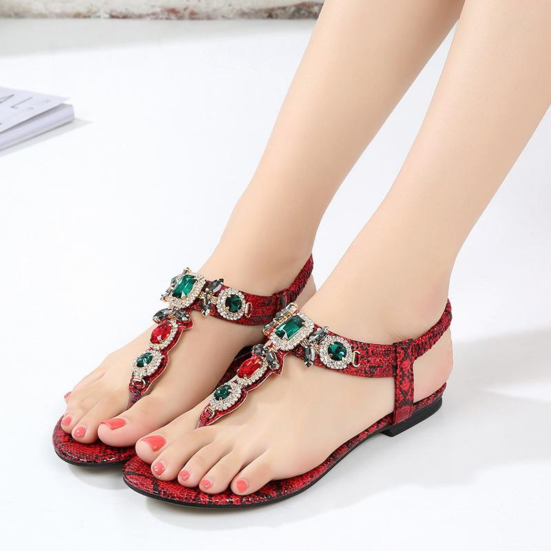 Лето новый Богемия Женские сандалии 2.5 см низкий каблук Т-образный ремешок роскошные бисером кожаные модные сандалии пляжная обувь большой размер 35-43