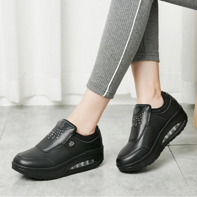 5CM Height Increase Women Toning Shoes Waterproof Leather Wedge Sneakers Lady Body Shaping Fitness Shoes Antislip Platform Shoes