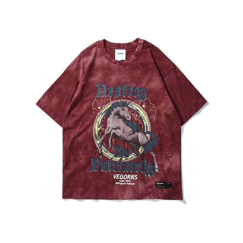 UNCLEDONJM Hip Hop Wild Horse Printed T Shirt Men 2020 Harajuku с коротким рукавом Мода Streetwear Мужской Повседневный Топы Тис VG-T292