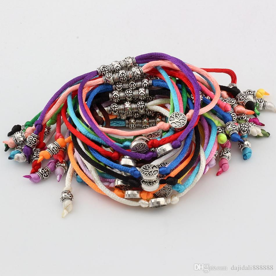 21pcs/lots Antique Silver Tone Tree of life Alloy bead Chinese knot wire Adjustable Religious Bracelets handmade DIY Jewelry 21color