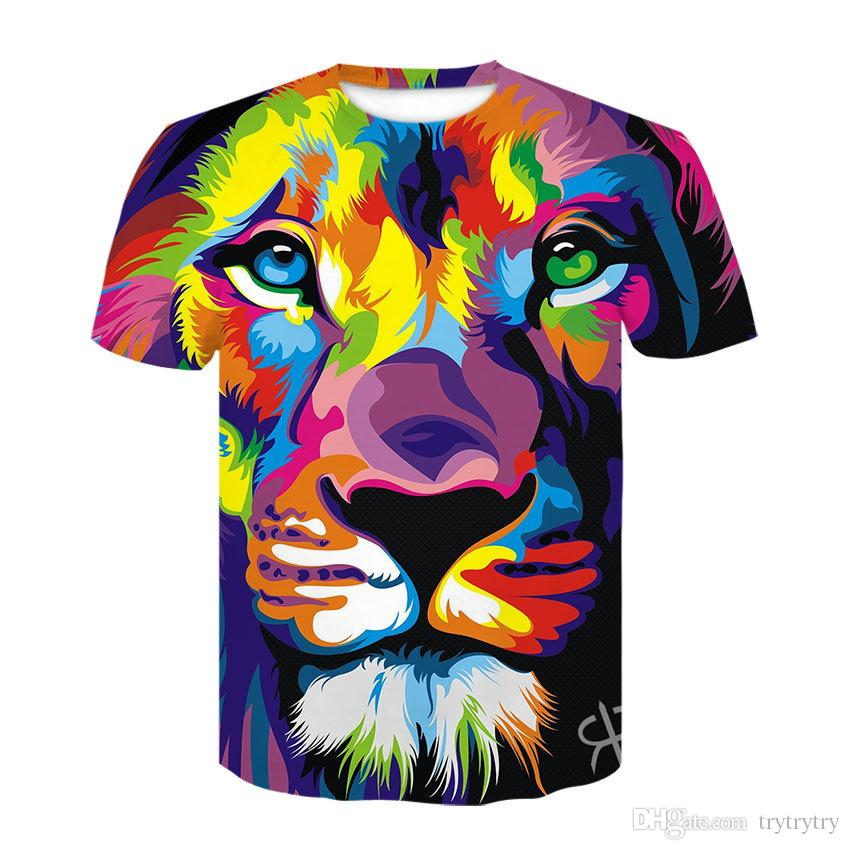 Renkli Boyama Komik Kaplan Baskı T Gömlek Erkekler Yaz Yeni Moda O-Boyun Tişört Karikatür Kısa Kollu Harajuku T-shirt Ypf313