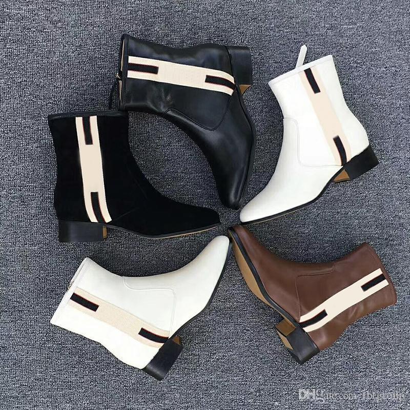 En Yeni Kadın tasarımcı çizmeler web bant deri yarım bot kutusu ile bot% 100 gerçek deri kaba boyutu US5-11 Kış ayakkabı Chelse
