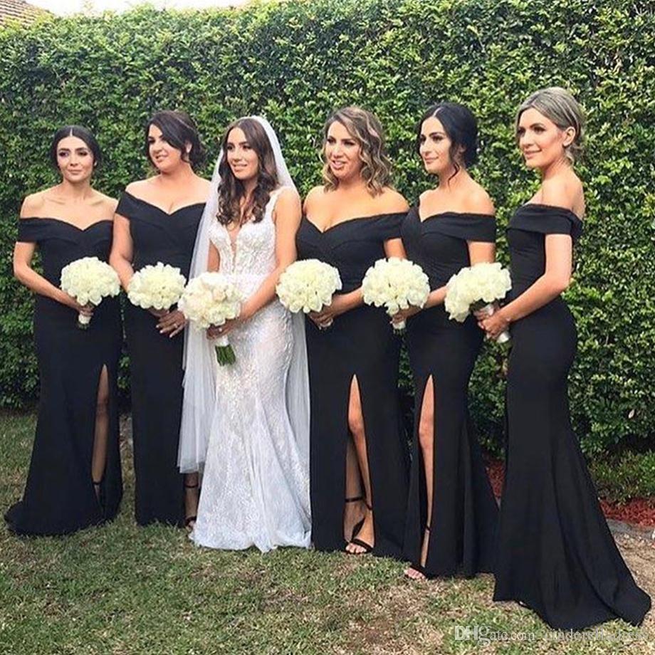 2020 Semplice fuori dalla spalla della sirena del raso lunghi damigella d'onore increspato Split Plus Size Wedding Guest cameriera d'onore Abiti BM0356