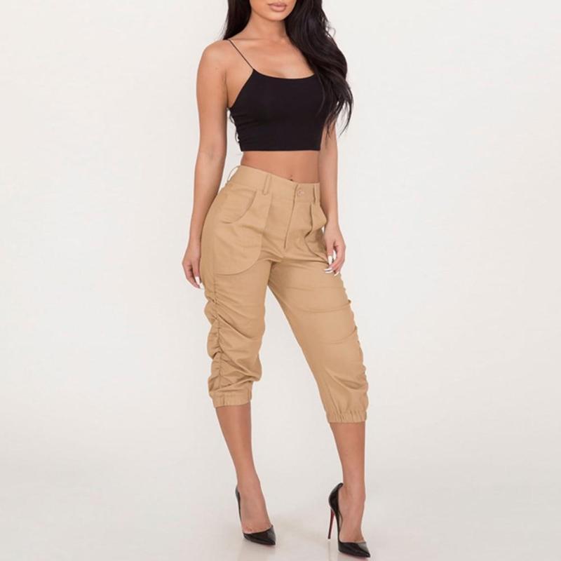 Verano de las mujeres del color sólido de alta cintura Bolsillos 3/4 Pantalones Harem cosechó los pantalones
