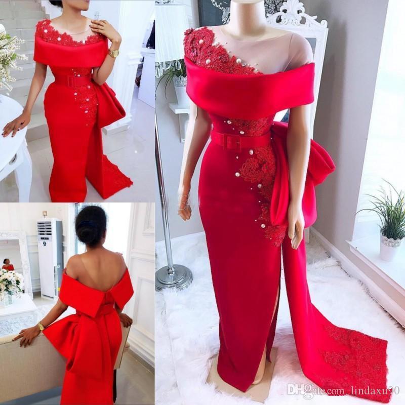 Suudi Arapça Kırmızı Gelinlik Modelleri Sheer Boyun Yay Ile Tren Boncuklu İnciler Mermaid Abiye giyim Saten Yan Bölünmüş Afrika Örgün Parti Elbise