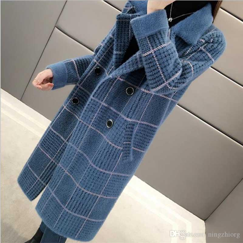 larga y gruesa chaqueta cardigan tejido suelto coreana 2019 de las mujeres suéter de otoño e invierno nueva visón imitación a cuadros