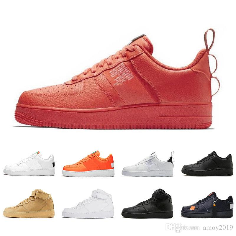 2019 Cheap 1 Utility Classic Black White Dunk Men Women Casual Shoes red one Sports Skateboarding High Low Cut Wheat Trainers Sneakers