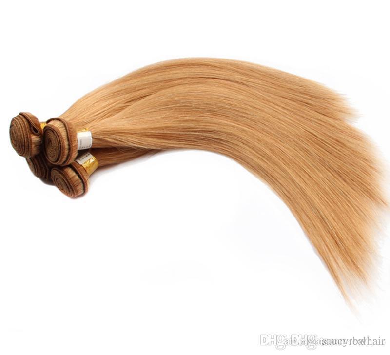 Elibess Brand - Color 27 Honey Blonde Бразильские прямые человеческие волосы 50гр ПК 6 Много пучков Может быть Dyde и Restyled Remy для волос