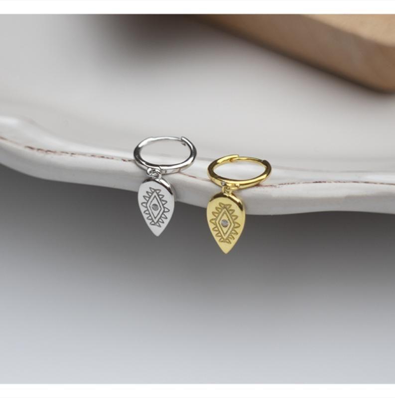 925 plata esterlina anillo de oído diseño de moda pendiente de la hoja en forma de corto gota pendiente joyas oído girlsilver tendencia femenina salvaje linda