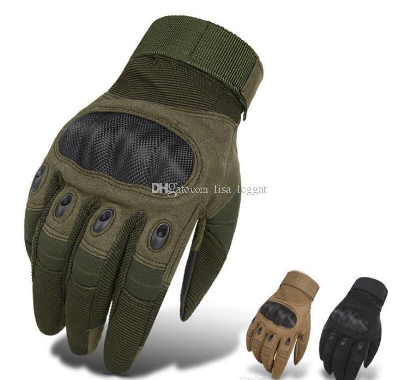 Neue taktische Handschuhe 2019 für Männer, die volle Finger-Handschuhe im Freiensport-Paintball-Carbon-Jagd-harte Knöchel-Handschuhe schießen