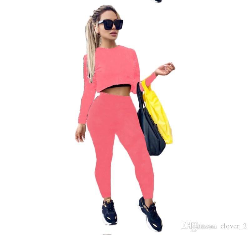Abiti sportivi da donna con cappuccio manica lunga set da 2 pezzi tuta sportiva da jogging collant felpa tuta sportiva autunno felpa con cappuccio stampa vestito klw2141