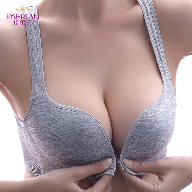 Limited EditionPAERLAN Sport Bra Wire Free Front Closure Small Breast Push Up Comfortable Solid Underwear Women T200416