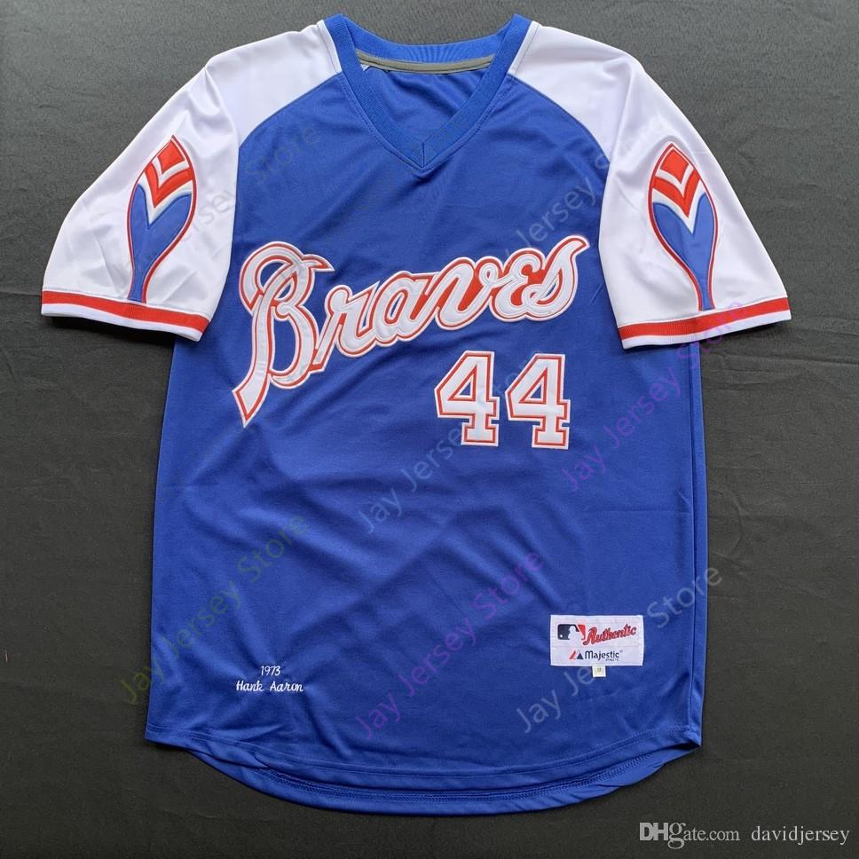 finest selection a9b64 d6f35 2019 Atlanta Hank Aaron Jersey Braves 715 HR Patch Hall Of Fame 1974 1973  Cream White Blue Pullover Red Mesh From Davidjersey, $16.26 | DHgate.Com
