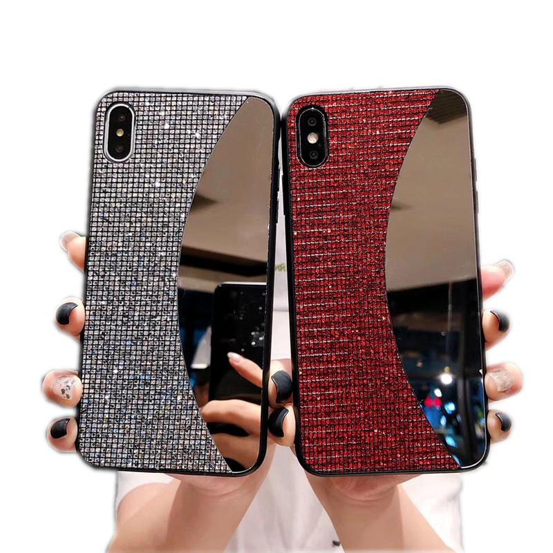 Mirror make up Luxury bling bling Rhinestone Glitter phone case for iphone 11 pro 6 7 8 plus X XR XS MAX back case cover for girl women