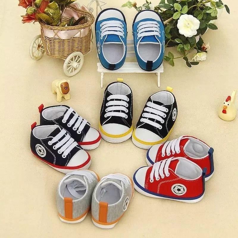 KidsBaby Infantil بيبي لينة أسفل الأولى مشوا الأطفال الوليد السببية أحذية الطفل قماش أحذية الدانتيل يصل الأحذية