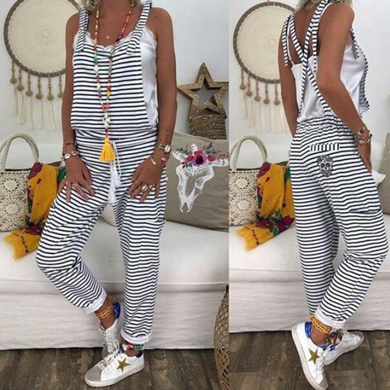 Women Flower Print Loose Jumpsuits Rompers V-neck Herem Pants Sport Slacks Suspenders Hip Pop Sport Slacks Y200106