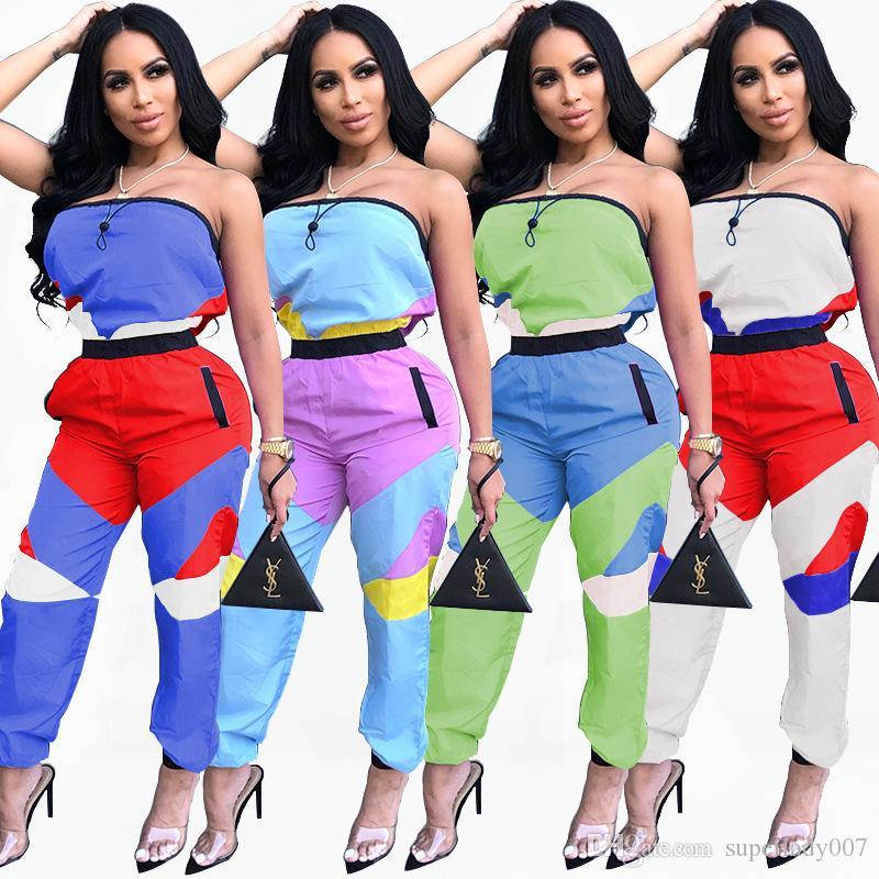 Correspondência de cores das mulheres sexy envolto peito macacão macacões macacões das mulheres sexy das mulheres calças compridas boate calças
