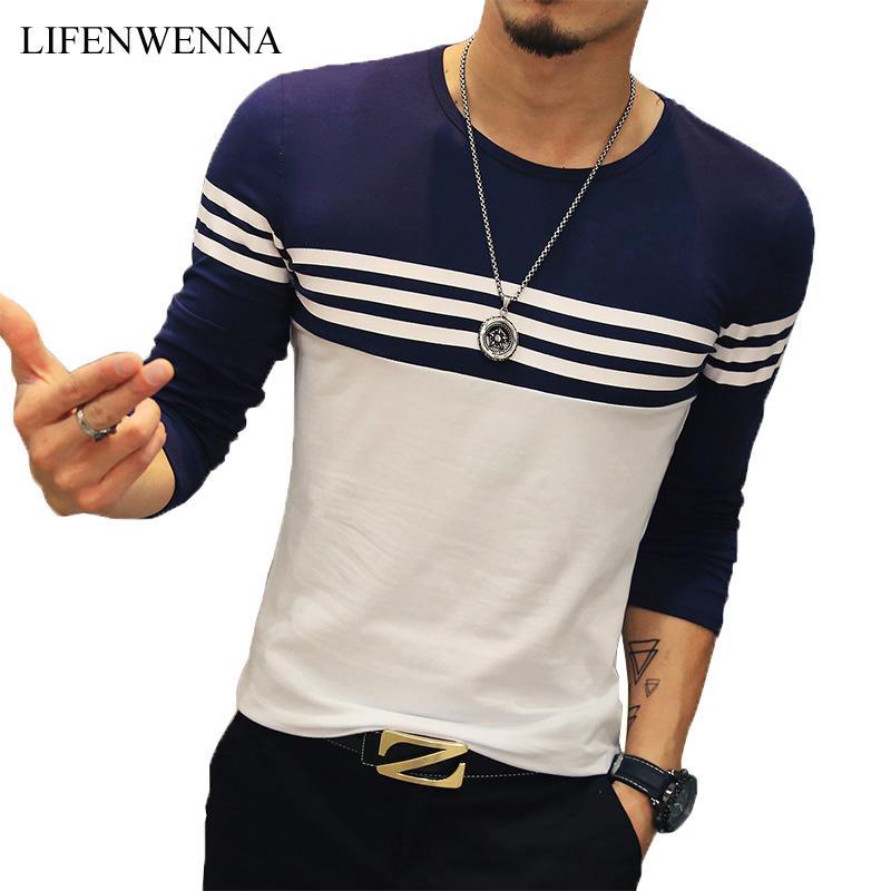 2019 Outono Casual Camiseta de Striped Homens Moda O Neck Men manga comprida T Shirt Magro Mens Fit roupa da tendência Hip Hop Top Tees 5XL T200111