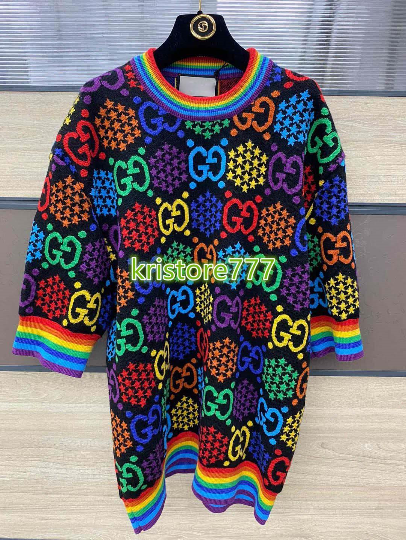 de gama alta de las mujeres de lana de punto chicas de la camiseta del arco iris de enclavamiento carta de tapas con motivos suéter de manga corta cuello redondo camiseta blusa ashion diseño de lujo