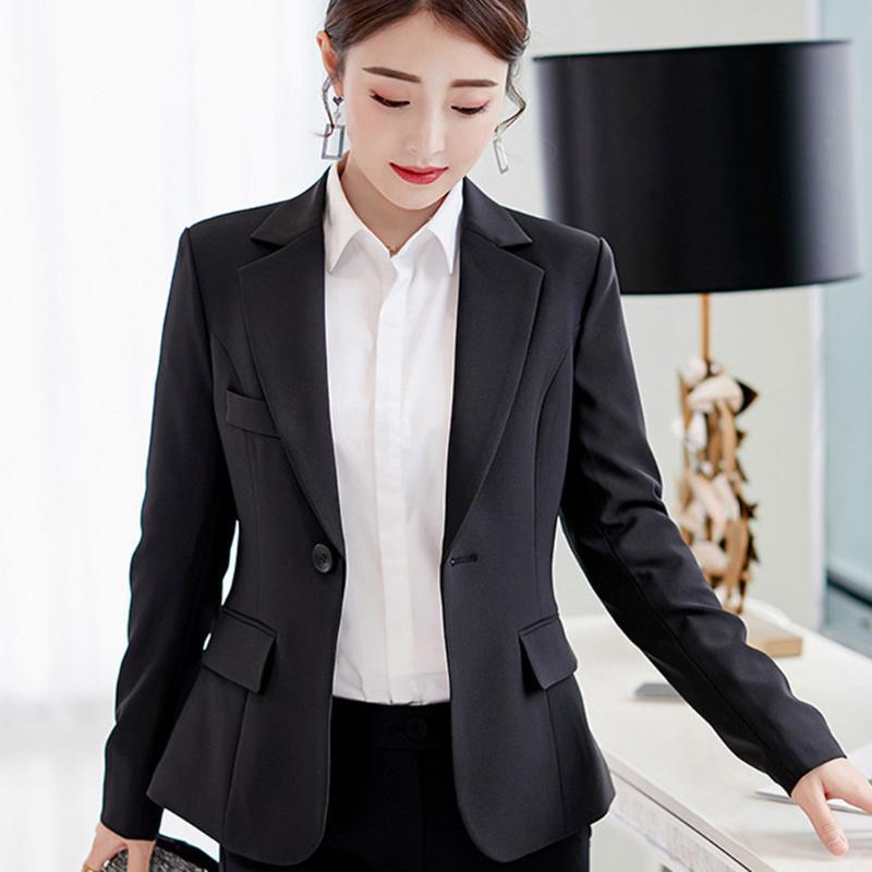 Negro mujeres de la chaqueta 2020 formal Blazers Señora trabajo de oficina bolsillos traje chaquetas de la capa delgada negro mujeres de la chaqueta de mujeres Chaqueta Corta