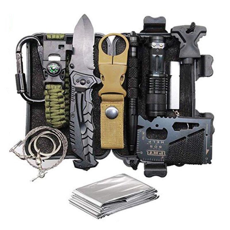 Gadget extérieur 11 en 1 kits de survie de survie SOS, outils d'urgence EDC et kit de survie de matériel de transport de tous les jours