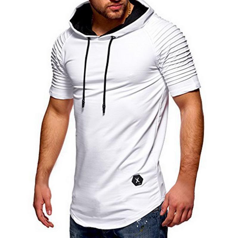 Men Tshirt Summer Fashion Hooded Sling Folding Short -Sleeve Tee Male T -Shirt Slim Male Tops Camisa Masculina Plus Size M-3XL