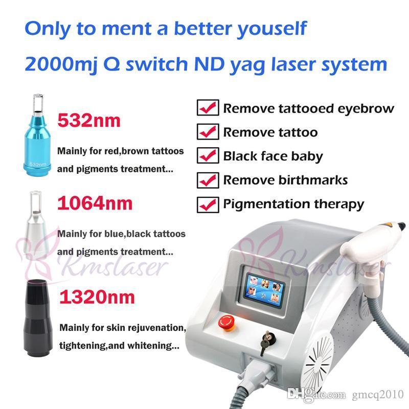 Rouge et gris deux colors2000MJ écran tactile 1000W Q commuté nd détatouage machine beauté laser Yag élimination Scar acné 1064nm 532nm 1320 nm
