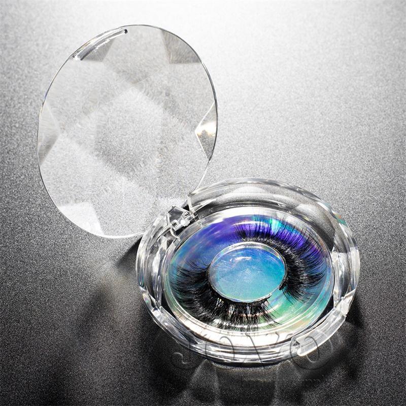 VMAE Stock Handmade 19 мм до 25 мм Длинные пушистые мягкие 3D 5D мягкая полоса Faux Mink ресницы Частный ярлык с круглой кристаллической лазерной коробкой