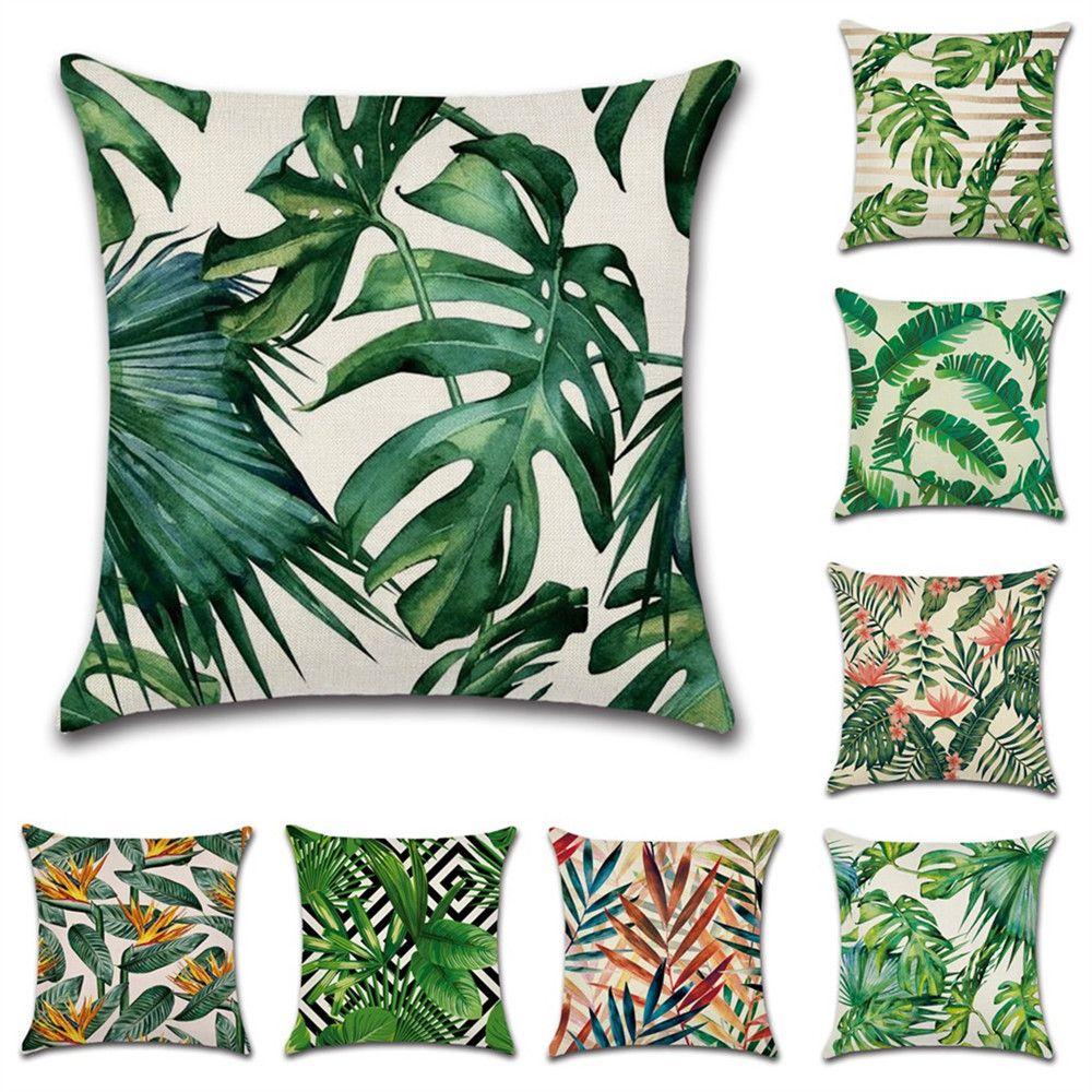 Plantas tropicales Hoja de palma Hojas verdes Monstera Cojín Cubiertas Hibiscus Flower Cojín Cubierta Caja de almohada de lino beige decorativo