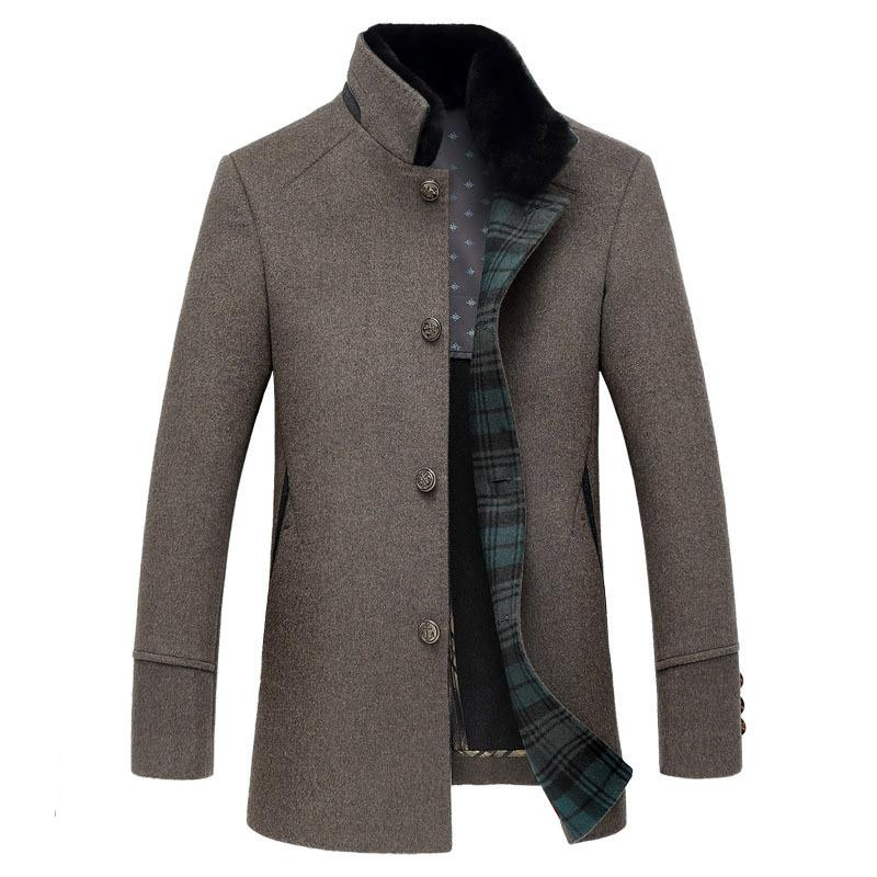 High quality stand collar single breasted wool coats outerwear men 2018 new style fashion smart casual woolen jackets