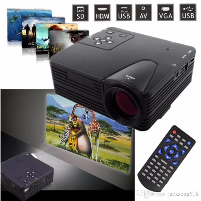 الأصل H80 مصغرة محمولة LED العارض 640x480 بكسل يدعم عالي الوضوح 1080p LED العارض الفيديو المسرح المنزلي AV / VGA / SD / USB / HDMI