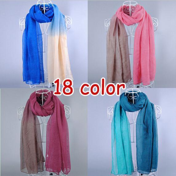Wholesale-New design women's printe Ombre shade plain fashion shawls long cotton voile hijab head muslim scarves/scarf 10pcs/lot
