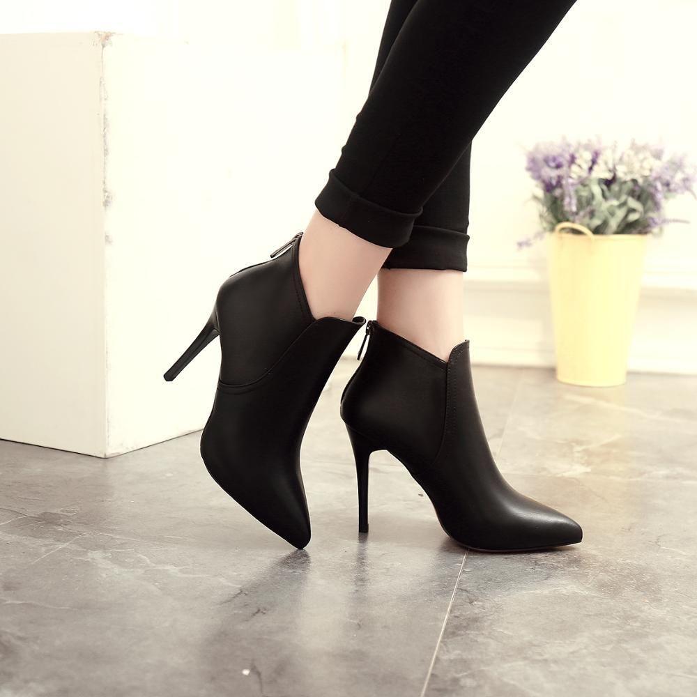 Chaussures Bas Bottes Talons mince femme robe noire Microfibre avec semelle rouge Pointy Toe PU cuir cheville Bootie Y200115