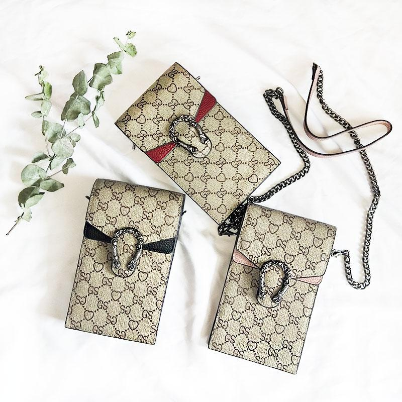 Mode téléphone portable Sac en cuir véritable Femmes Designer Sacs à main simple Mini Messenger épaule chaîne Sac à bandoulière dames bourse