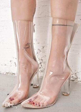 Frauen Schuhe Mode Street Style Stiefel T-Stage Luxus Kunststoff PVC transparent Sexy Stiefel Chunky Heels Sexy Kalb High Zip