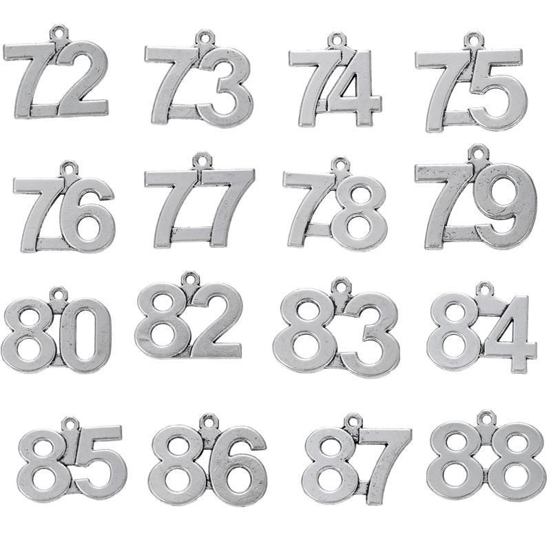 20 PZ 72-88 Numero Fortunato Pendente di Fascini di Compleanno Misura Per DIY CollanaBraceletOrecchini Ciondola Gioielli