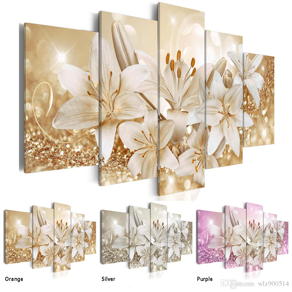 Modern Prints Flowers Oil Painting on Canvas Art Flowers Wall Pictures for Living Room and Bedroom (No Frame) Choose Color & Size