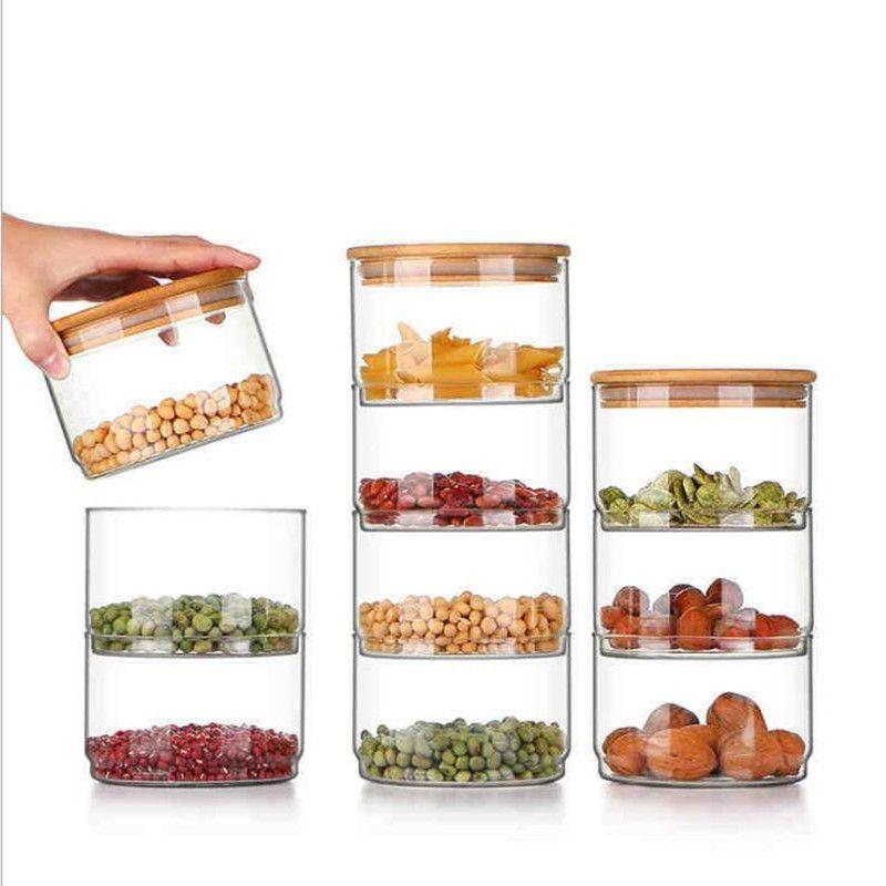 Hohe Borosilikat-transparentes Glas abgedichteten Behälter, Vorratstank, Getreide Empfängt Flasche, Bambus und Holz-Abdeckung, einteiliger Combinat