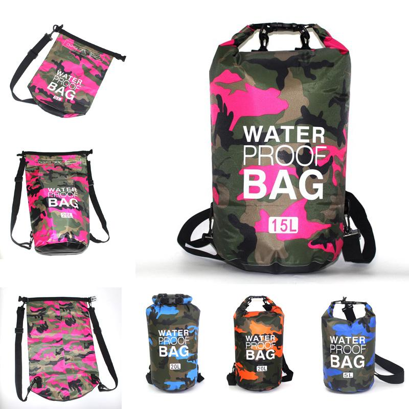 Waterproof Dry Bag Floating Backpack Sack Compression Backpack Dry Water Proof Bag With Shoulder Strap Fashion Camouflage Dry Sack M240Y