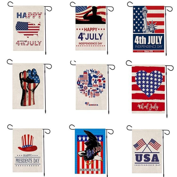 2020 47 * 32cm nouveau jour de l'indépendance américaine linge Drapeau Jardin drapeau shuangpian décoration cour drapeau festival 4ème heureux de Juillet T3I5768