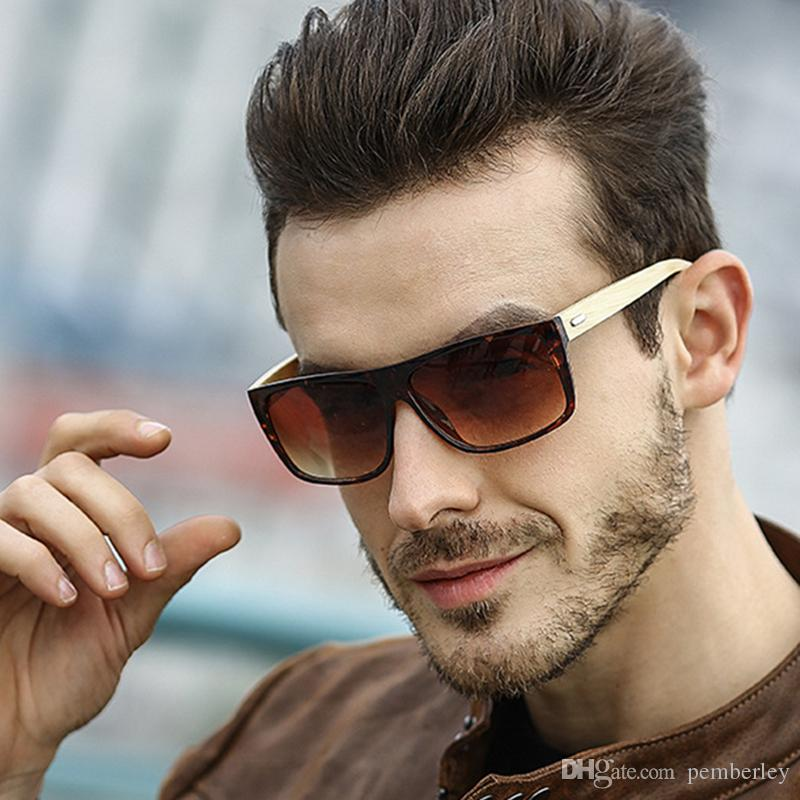 8204 Luxus-Männer Markendesigner Sonnenbrille Haltung Sonnenbrille Quadrat-Logo auf der Linse Männer Marke Designer-Sonnenbrille glänzend Schwarz Neu