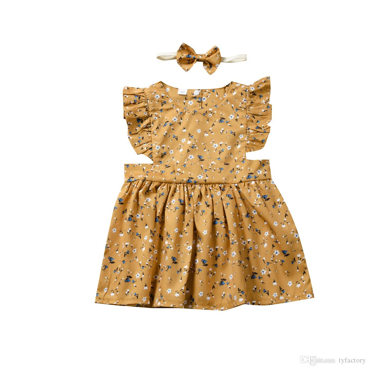 Baby Girl floral Princess gold color Dress With Headband Toddler Baby Wedding Party Layered Tulle Dresses Sundress outfit 1-5years