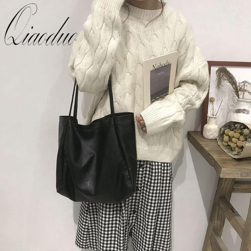 Qiaoduo Chic Big morbido Donne Borse grande capacità femminile Tote Bags signore di alta qualità Shopper Borse a tracolla 2020 nero Beige