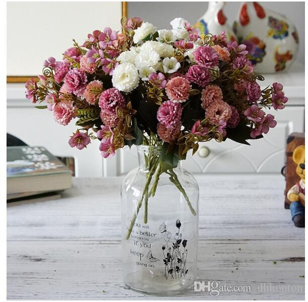 Artificial flowers carnation bouquet 11 Flower Heads Wedding Bridal Bouquet Home Decorations Silk flowers mother's day gift